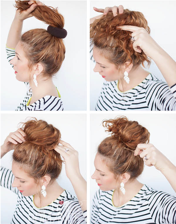 Curly Hair Style High Messy Bun Right Ringlets
